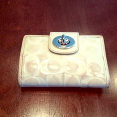 Coach white leather wallet Coach leather wallet. In great condition. White leather has some discoloration. Coach Bags Wallets