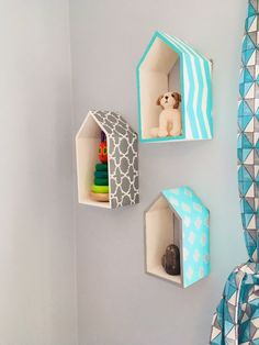 DIY Mini House Shelves UNDER $10 Wooden Shelves, Floating Shelves, Thrift Store Hauls, Diy Furniture Decor, House Shelves, Wooden Houses, Shelving, Minimalism, Room Ideas