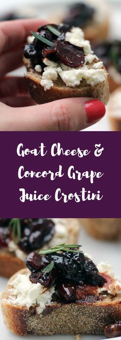 Here's a goat cheese crostini! You'll love this pan-roasted grape crostini that's heart healthy. Vegetarian Appetizers, Cheese Appetizers, Appetizer Recipes, Vegetarian Recipes, Vegetarian Brunch, Dairy Recipes, Savoury Recipes, Brunch Recipes, Easy Healthy Recipes