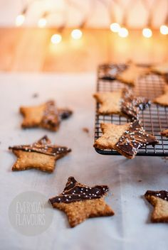 chocolate dipped star sugar cookies for the holidays