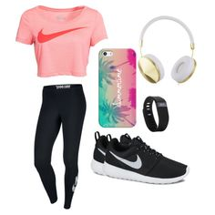 Get Active ~ This outfit is perfect for a walk with the dog or a casual workout in the gym. Love the iPhone cover, the headphones and the Fitbit. Sporty Outfits, Athletic Outfits, Athletic Wear, Outfits For Teens, Cute Outfits, Gym Outfits, Running Outfits, Fashion Outfits, Sport Fashion