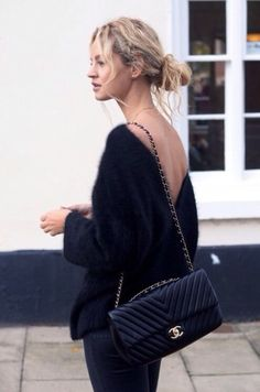 Sweater: bag backless backless mohair black oversized v neck boyfriend fuzzy open back comfy sweet