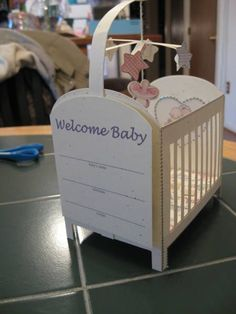 """{DIY} """"crib"""" party favor container for baby shower"""