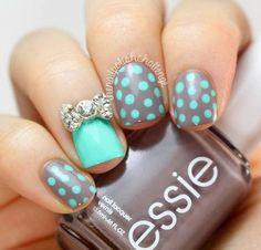 Dotted nails - #dottednail #nailart #mani #turquoise #grey #nails #bownails  - bellashoot.com