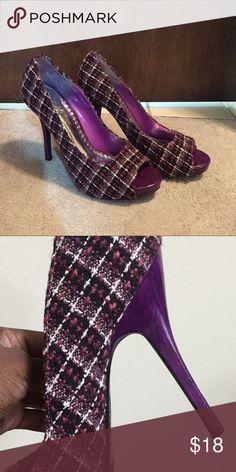 Multi colored heels Purple black and white peep toe heels material is cloth Wild Rose Shoes Heels