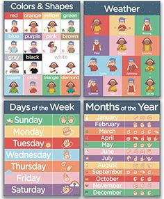 4 ASL Sign Language Posters - Months of The Year, Days of The Week, Color Chart and Weather Sign Language Colors, Baby Sign Language Chart, Sign Language For Kids, Sign Language Phrases, Sign Language Alphabet, Learn Sign Language, Sign Language Basics, English Sign Language, American Sign Language