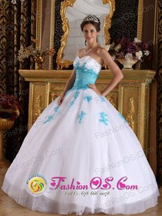 White and Blue Quinceanera Dress For 2013 With Sweetheart Appliques Organza Ball Gown IN Ciudad de la Costa Uruguay Style QDML059FOR