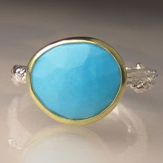 Rose Cut Sleeping Beauty Turquoise Twig Ring  18k by JanishJewels, $128.00