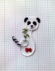 Crochet Panda, Marque-pages Au Crochet, Crochet Books, Love Crochet, Crochet Gifts, Creative Bookmarks, Cute Bookmarks, Beaded Bookmarks, Crochet Bookmarks