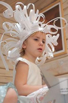Wild paper strip hat. Approved by Andrea Beaty, author of Happy Birthday Madame Chapeau.