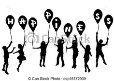 Silhouette young girl holding balloons Illustrations and Clipart ...