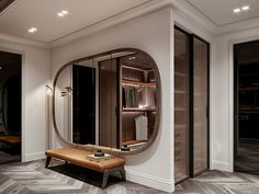 Top 5 Inexpensive Family Room ideas A huge beautiful mirror is always good for any space. Spa Interior Design, Home Room Design, House Design, Modern Foyer, Neoclassical Interior, Lobby Interior, Apartment Projects, Architecture Visualization, 3d Visualization