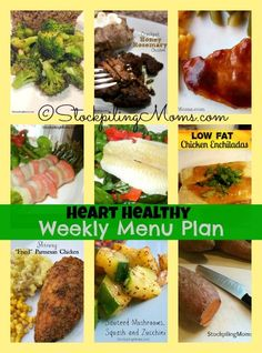 Heart Healthy Weekly Menu Plan! February is Heart Month and here are some great recipes to help you be heart healthy!