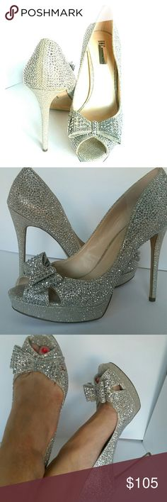 """CAN I GET AN AMEN? INC SPARKLING PUMPS SZ 10 THESE HEELS MAKE ME WANT TO RENEW MY VOWS SO I CAN SHOW THEM OFF. NEW WITH BOX. APPROXIMATELY 5"""" HEEL WITH 1"""" PLATFORM. INC International Concepts Shoes Heels"""