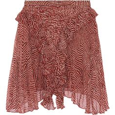 Isabel Marant - Meg Printed Silk-chiffon Mini Skirt ($179) ❤ liked on Polyvore featuring skirts, mini skirts, bottoms, claret, bohemian skirts, pleated skirt, silk chiffon skirt, short mini skirts and short skirts