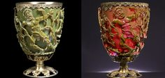 Roman nanotechnology purposefully studded glass with silver and gold microparticles in order to change the hue of light from green to red when the cup was lit from behind.