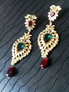 Indian wedding Chandelier Earrings, Red Green Kundan Crystal Long Earrings by TANEESI Jewelry. $75.00, via Etsy.