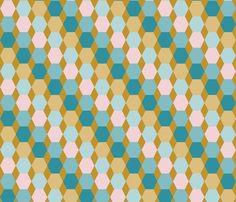 hexagons on mustard yellow fabric by colorofmagic on Spoonflower - custom fabric