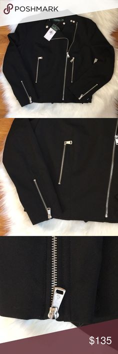 Ralph Lauren Twill Buckle Black Moto Jacket 10 NWT Brand new with tags attached- no flaws. Size 10.  Manufacturer: Lauren Ralph Lauren Retail: $225.00 Condition: New with tags Style Type: Motorcycle Collection: Lauren Ralph Lauren Sleeve Length: Long Sleeve Closure: Zip Front Material: 64% Polyester/31% Viscose/5% Elastane Fabric Type: Twill Specialty: Buckle Lauren Ralph Lauren Jackets & Coats Utility Jackets