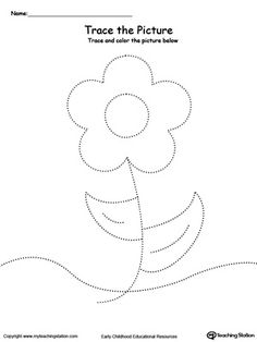 Flower Picture Tracing: Reinforce fine motor skills in your preschool child by tracing lines and coloring the picture.