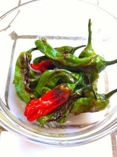 Roasted and salted Shishito peppers from Shirley's garden     I started to grow  Shishito peppers in my garden after enjoying them as a Japanese appetizer at favorite sushi bar.  Lo...