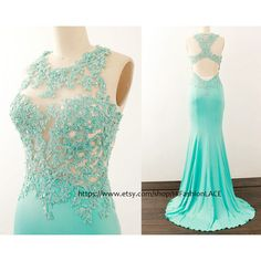 Mermaid Mint Prom Dresses Lace Jersey Long Prom Gown Mint Lace Jersey... (500 BRL) ❤ liked on Polyvore featuring dresses, black, women's clothing, long formal dresses, sleeved prom dresses, lace dress, long sleeve dress and formal dresses