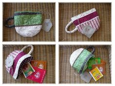 (tea bag cozy) tea pocket- shaped like a cup. Pictures are good, site is in French. Small Sewing Projects, Sewing Crafts, Craft Projects, Diy Couture, Couture Sewing, Sewing Tutorials, Sewing Patterns, Patchwork Quilt, Pouch Tutorial