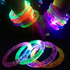 Glow In The Dark Luminous Rings Bracelet New Children Toys Flash Gifts LED Cartoon Lights Toys For Childs Kids Playing Nig Girls Princess Room, Pink Scrunchies, Glow In Dark Party, Ring Bracelet, Bracelets, Necklaces, Ring Armband, Glow Party Supplies, Best Kids Toys
