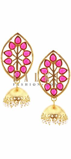 Buy Online from the link below. We ship worldwide (Free Shipping over US$100) Price-$29 Click Anywhere to Tag http://www.kalkifashion.com/pink-kundan-earring-enhanced-in-dangler-only-on-kalki.html