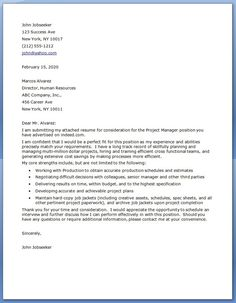 project manager cover letter examples cover letter tips cover letter for resume best cover