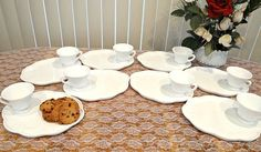 Vintage 1950s Indiana Glass Colony Harvest Milk Glass Luncheon Set of 8 (2 sets available) by TimelessTreasuresbyM on Etsy