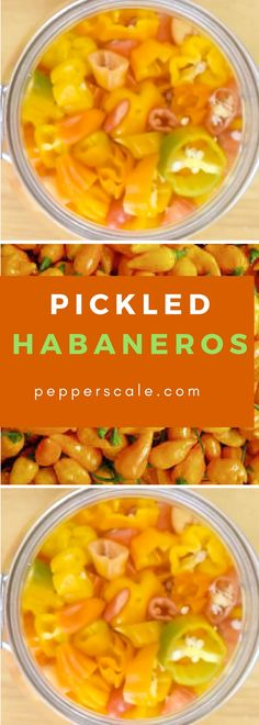 For those that like their food extra-hot, pickled habaneros are that step up for your burger or sandwich that you've been waiting for. Hot Pepper Recipes, Hot Sauce Recipes, Habanero Recipes, Pickled Green Tomatoes, Canning Vegetables, Cooking Recipes, Healthy Recipes, Side Recipes, Stuffed Hot Peppers