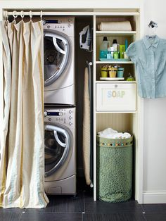 A space-saving stacked washer and dryer in this closet-turned-laundry area leaves plenty of room to install shelves for storage. If your laundry closet lacks a door, like this one, conceal it with a cute, colorful shower curtain suspended from a shower rod. The curtain solution hides the otherwise visible laundry room, a definite plus when guests visit....