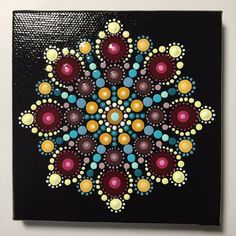 Reserved for Lisa Hand Painted Mandala on Canvas 329 by MafaStones