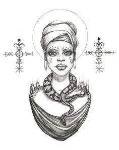 """Hoodoo Magick Rootwork:  """"#Voodoo Priestess,"""" Original Drawing by Caitlin McCarthy Art."""