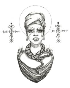 "Hoodoo Magick Rootwork:  ""#Voodoo Priestess,"" Original Drawing by Caitlin McCarthy Art."