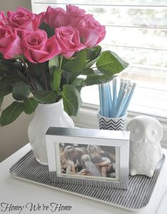 Great grouping technique to keep small things from looking cluttered!