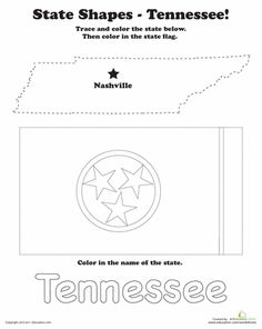 Find your way around the United States map with the Trace and Color State Shapes worksheets. Kids will get introduced to geography by tracing and coloring the states and their flags. Pre K Worksheets, Summer Worksheets, Social Studies Worksheets, Social Studies Activities, Teaching Social Studies, Shapes Worksheets, State Of Tennessee, Tennessee Titans, Tennessee Volunteers