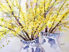 Watercolor Paintings and Prints von PamelaHarnoisArt Watercolor Print, Watercolor Flowers, Watercolor Paintings, Watercolours, Watercolor Ideas, Flower Paintings, Yellow Artwork, Goat Art, Kunst