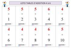 Un jeu de loto pour apprendre et mémoriser les tables d'addition de 4 à 6. Table Addition, 9 And 10, Tables, Words, 7th Grade Classroom, Learn Math, Mesas