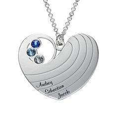 Buy Mother Heart Necklace with Birthstones in Silver Sterling from MyNameNecklace UK! Best Friend Jewelry, Mom Jewelry, Silver Jewelry, Diamond Solitaire Necklace, Heart Shaped Diamond, Key Pendant, Pendant Necklace, Name Necklace, Family Necklace