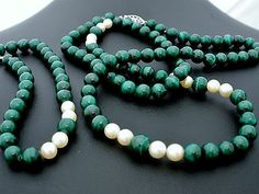 "Sterling Silver Pearl Malachite Necklace Bracelet Bead Vintage 22"" Long 7.5"""