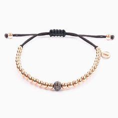 Pulsera de hilo negro con perlas de oro y diamantes - Joyas Diy Jewelry, Fashion Jewelry, Jewelry Making, Evil Eye Bracelet, Macrame Bracelets, Bead Art, Anklets, Beads, Gold