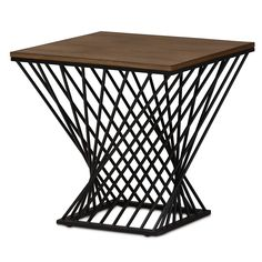 Otto Geometric Rustic Industrial Style Antique Textured Finished Metal Distressed Ash Wood Occasional Side Table - Black - Baxton Studio, Brown