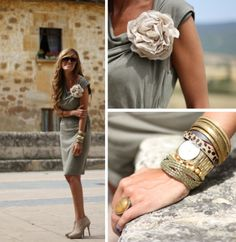 Adore this gray dress with vintage flower & bracelets! Rock Style, Her Style, Fashion Beauty, Travel Fashion, My Outfit, Outfit Ideas, Classy And Fabulous, Passion For Fashion, Fashion Forward