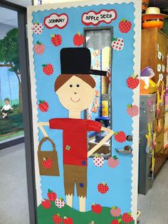 Cute Johnny Appleseed door for September!