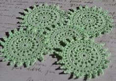 5 Sea Glass Green Crochet Doilies - Hand dyed - Upcycled - repurpose - Scrap - Shabby