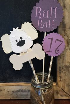 Items similar to Puppy Party Centerpiece, Purple Puppy Party Centerpiece, Dog Centerpiece on Etsy Party Animals, Animal Party, Monster Birthday Parties, Birthday Party Themes, Puppy Party, Dog Crafts, Dog Birthday, Party Centerpieces, First Birthdays