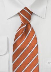 XXL-Krawatte feines Streifen-Muster kupfer-orange günstig kaufen