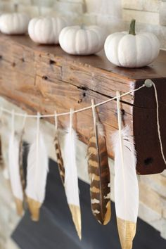 The best DIY projects & DIY ideas and tutorials: sewing, paper craft, DIY. Diy Crafts Ideas Are you ready to decorate for fall but have a tight budget? Try one of these budget-friendly simple DIY Fall Mantle Ideas. Easy enough Gold Diy, Thanksgiving Decorations, Halloween Decorations, Diy Thanksgiving, Halloween Garland, Chic Halloween, House Decorations, Happy Halloween, Fall Crafts